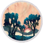 Sunset Desert Canyon Round Beach Towel