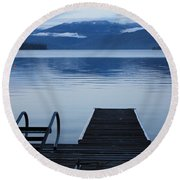 Sunset Dock At Priest Lake Round Beach Towel