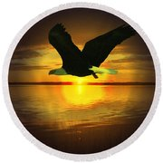 Sunset Eagle Round Beach Towel