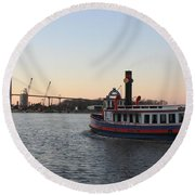 Sunset Ferry In Savannah Round Beach Towel