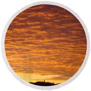 Sunset Fiery Orange Sunset Art Prints Sky Clouds Giclee Baslee Troutman Round Beach Towel