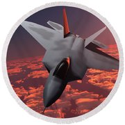 Sunset Fire F22 Fighter Jet Round Beach Towel