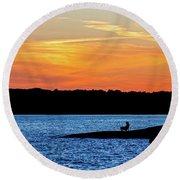 Sunset Fisherman  Round Beach Towel
