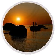 Sunset Fishing Round Beach Towel