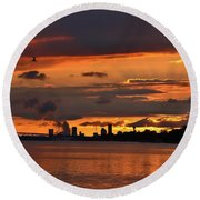 Sunset Flight Of The Tern Round Beach Towel