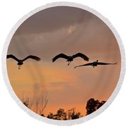 Sunset Fly Over Round Beach Towel