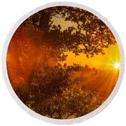 Sunset Fog Over The Pacific #3 Round Beach Towel