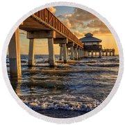 Sunset Fort Myers Beach Fishing Pier Round Beach Towel