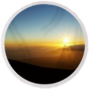Sunset From Haleakala Crater Round Beach Towel