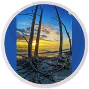 Sunset From Lovers Key, Florida Round Beach Towel