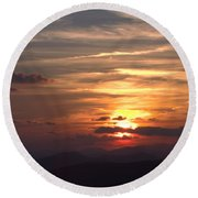 Sunset From The Blue Ridge Parkway Ll Round Beach Towel