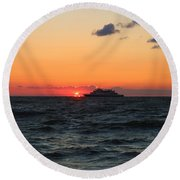 Sunset From The Ferry Round Beach Towel
