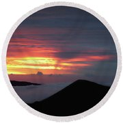 Sunset From The Observatory Round Beach Towel