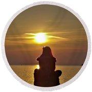 Sunset Girl Round Beach Towel