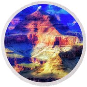 Sunset Glow At Mather Point Round Beach Towel