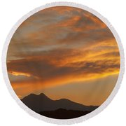 Sunset Glow Over The Twin Peaks Round Beach Towel