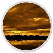 Sunset Gold Round Beach Towel
