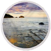 Sunset Grid Round Beach Towel