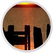 Sunset Hecla Island Manitoba Canada Round Beach Towel