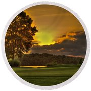 Sunset Hole In One The Landing Round Beach Towel