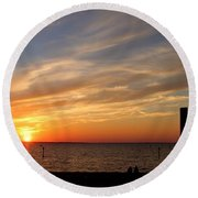 Sunset Huntingon Park Round Beach Towel