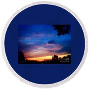 Sunset In A Deep Blue Sky Line Round Beach Towel