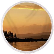 Sunset In Acadia  Round Beach Towel