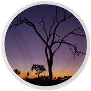 Sunset In Africa Round Beach Towel