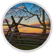 Sunset In Antietam Round Beach Towel