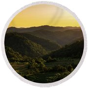 Sunset In Appalachia Round Beach Towel