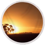 Sunset In Arizona Round Beach Towel