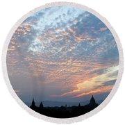 Sunset In Bagan Round Beach Towel