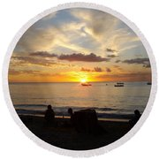 Sunset In Barbados Round Beach Towel