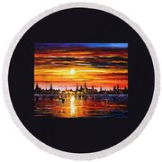 Sunset In Barcelona Round Beach Towel