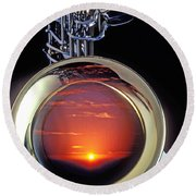 Sunset In Bell Of Sax Round Beach Towel