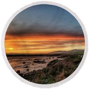 Sunset In Cambria Round Beach Towel