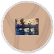 Sunset In Cypress Grove Round Beach Towel