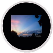 Sunset In Early Evening Round Beach Towel