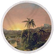 Sunset In Equador Round Beach Towel