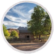 Sunset In Grafton Ghost Town I Round Beach Towel
