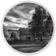 Sunset In Grafton Ghost Town Round Beach Towel