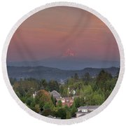Sunset In Happy Valley Round Beach Towel