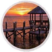 Sunset In Hatteras Round Beach Towel