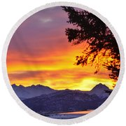 Sunset In Homer Alaska Round Beach Towel