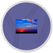Sunset In Hudson Nh Round Beach Towel