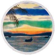 Sunset In Manuel Antonio  Round Beach Towel