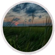 Sunset In Margate Nj Round Beach Towel
