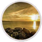 Sunset In Montego Bay Round Beach Towel