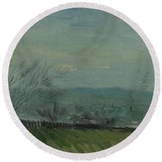 Sunset In Montmartre Paris, February - March 1887 Vincent Van Gogh 1853  1890 Round Beach Towel