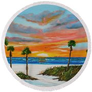 Sunset In Paradise Round Beach Towel by Lloyd Dobson